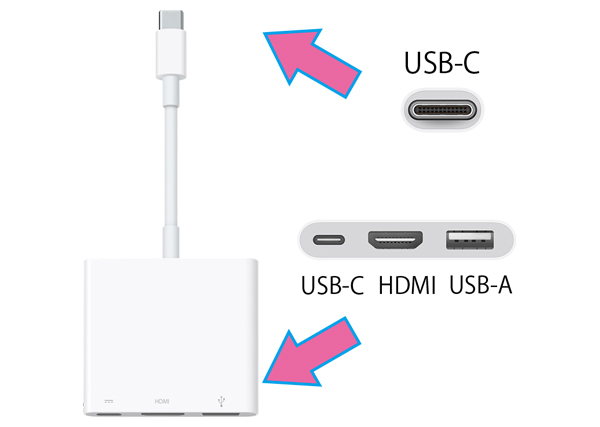 USB-C→Digital AV Multiport変換アダプタ