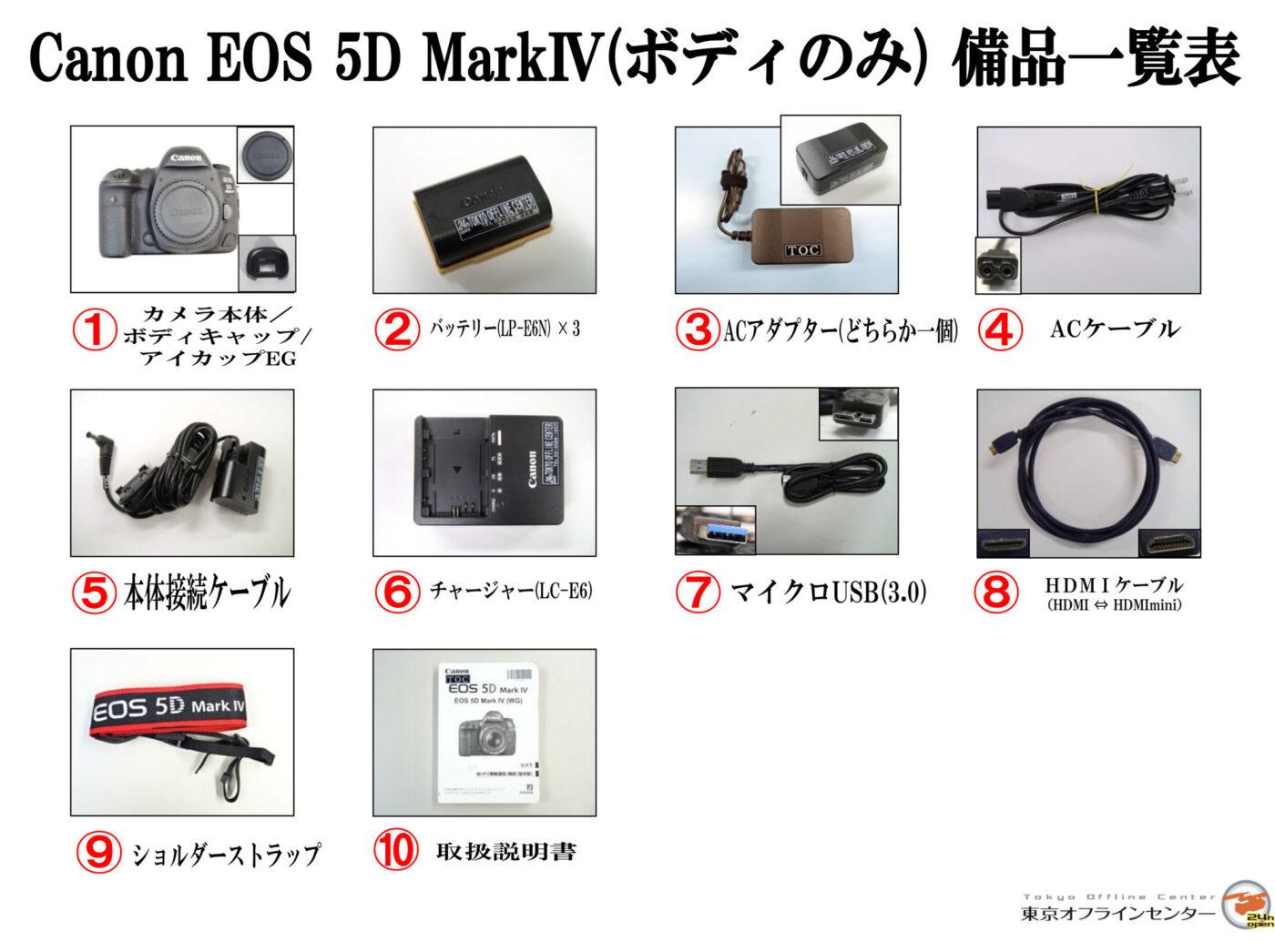 Canon EOS 5D mark IV 備品一覧