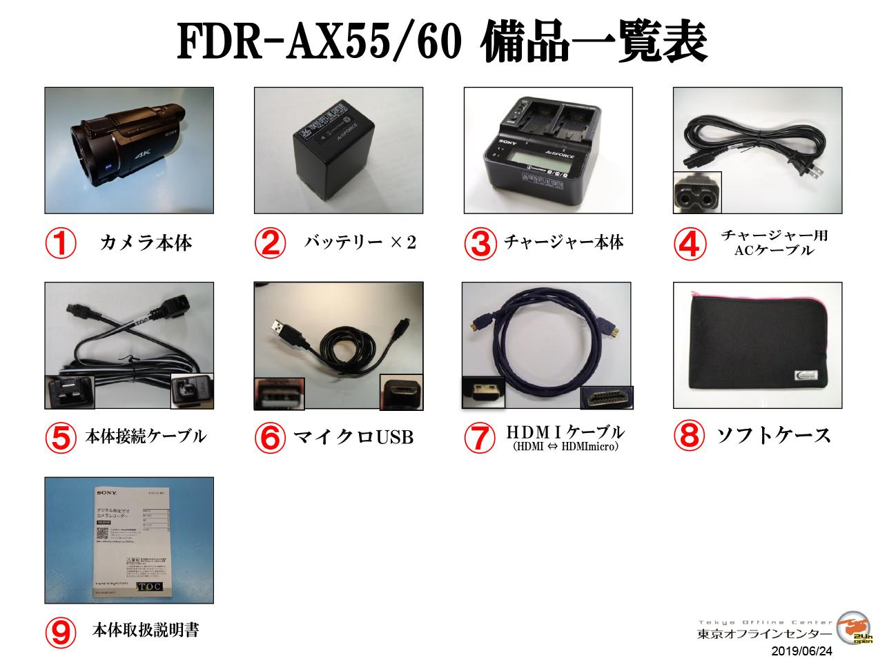FDR-AX55 備品一覧
