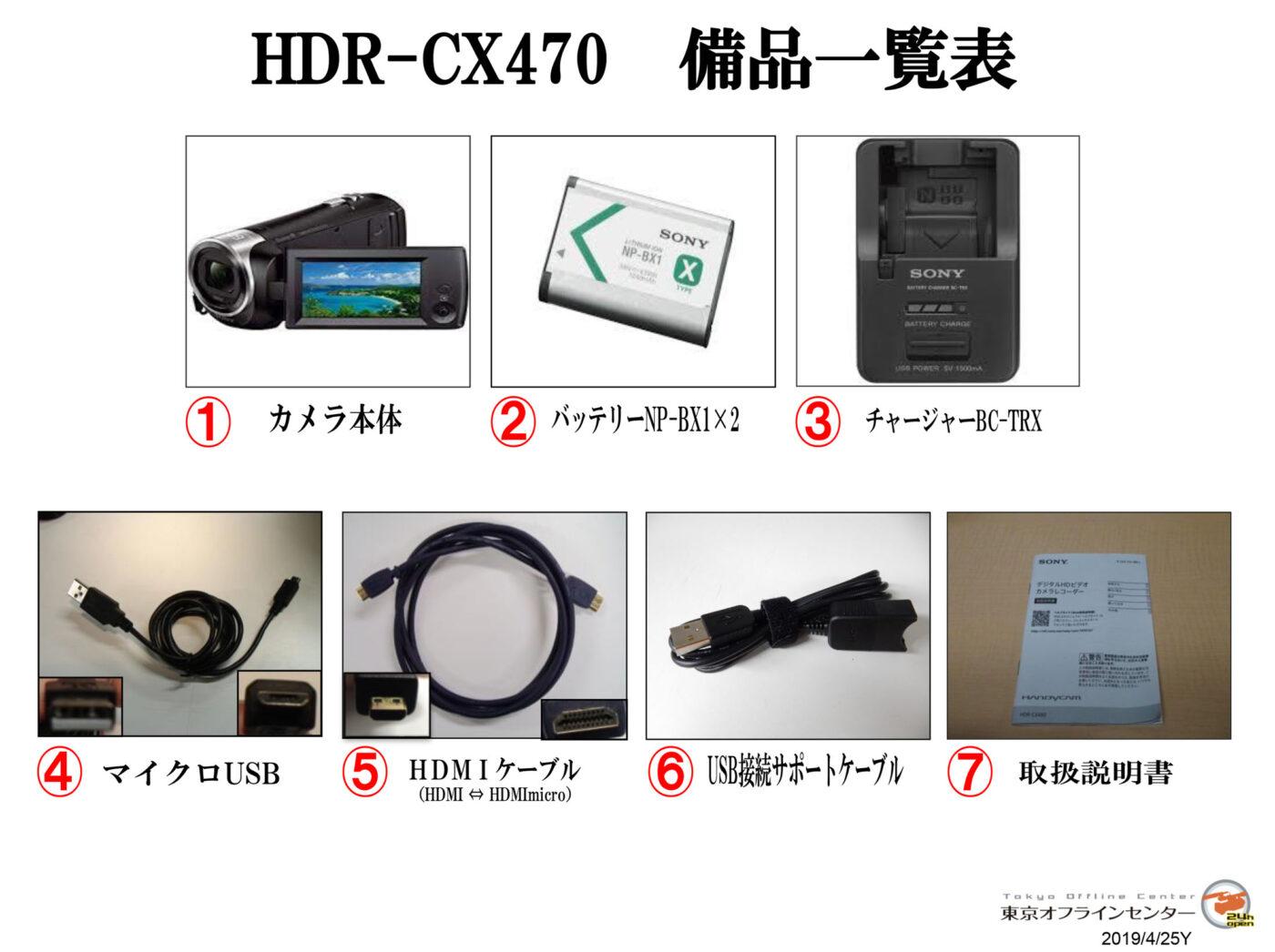 HDR-CX470 備品一覧