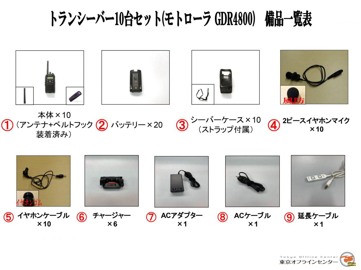 トランシーバー10台セット(モトローラ GDR4800)