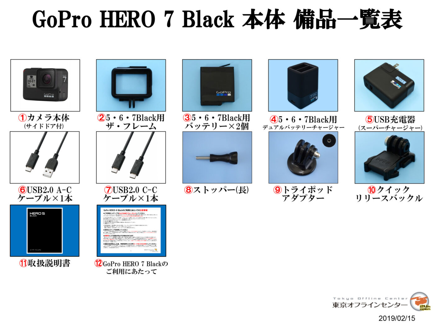 GoPro HERO7 Black 備品一覧