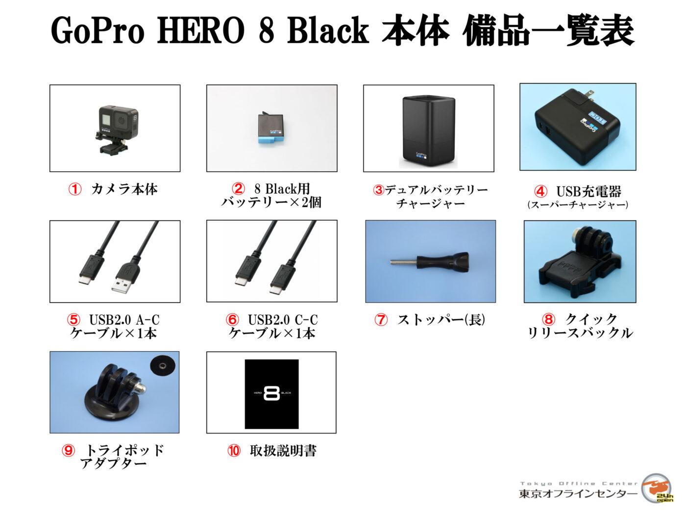 GoPro HERO8 Black 備品一覧