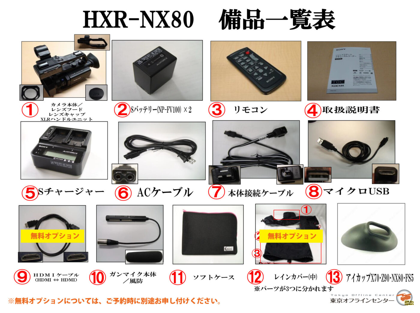 HXR-NX80 備品一覧