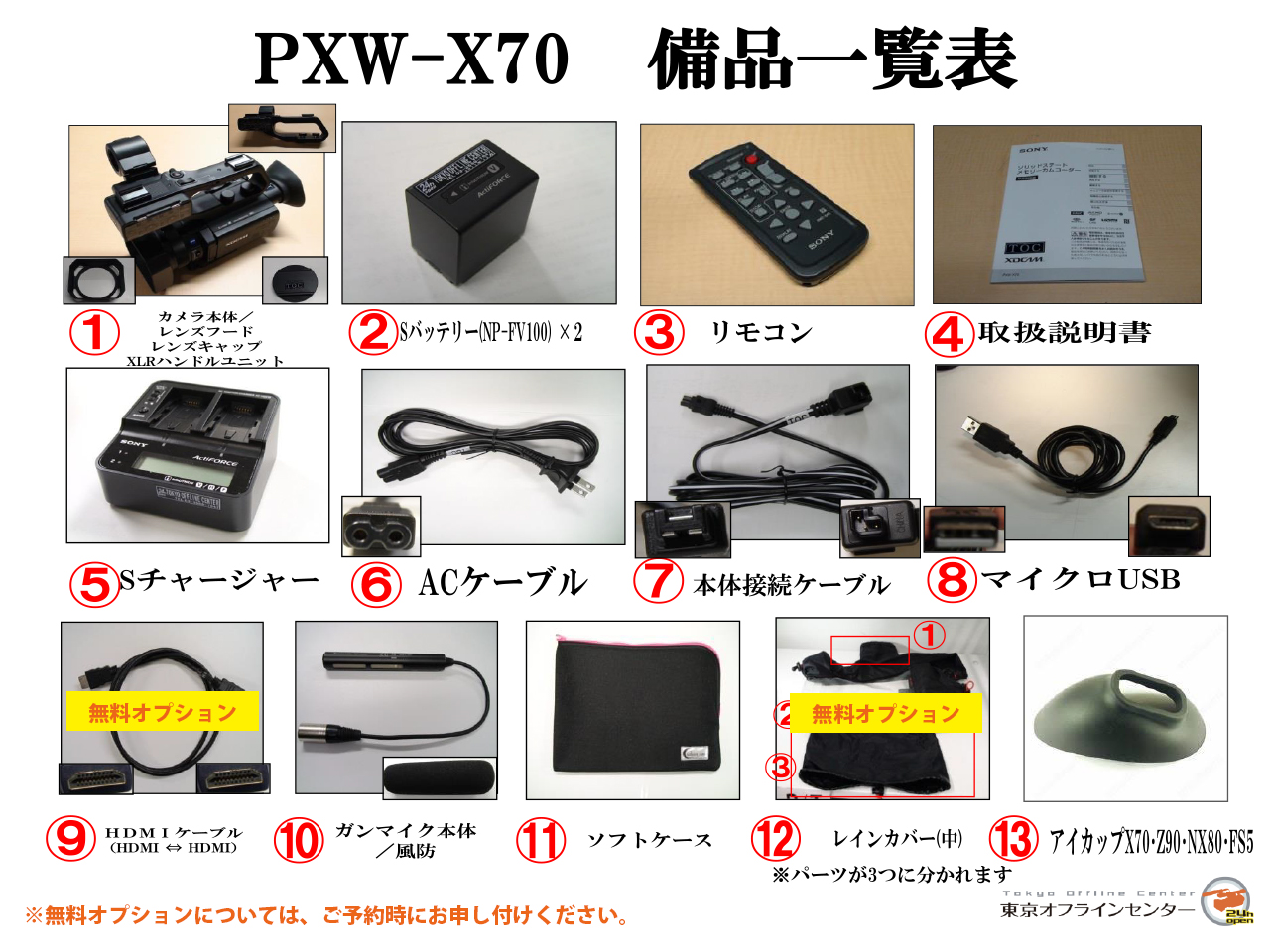 PXW-X70 備品一覧